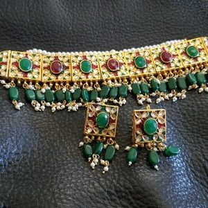 Jewelry - Kundan necklace choker earrings